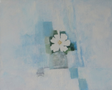 white flower in vase, 2006