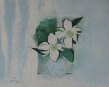 white flowers, in vase, 2006