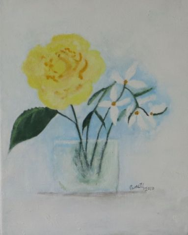 yellow rose, white flowers, in vase, 2010