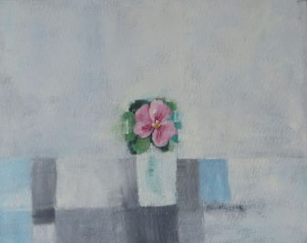 pink pansy in vase, 2006