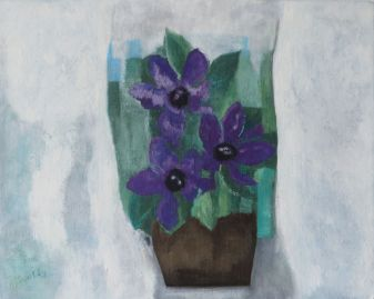 purple flowers, brown vase, 2008