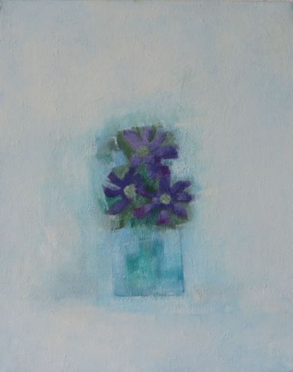purple flowers in vase, 2005