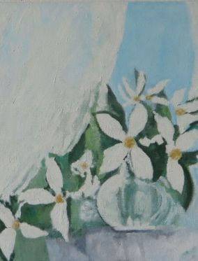 white flowers, white curtain, 2010?